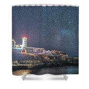 Starry Sky Of The Nubble Light In York Me Cape Neddick Shower Curtain