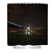 Starry Sky Over The New York To Vermont Bridge Lake Champlain Shower Curtain