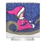 Starry Sleigh Ride Shower Curtain