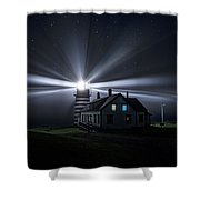 Stars And Light Beams - West Quoddy Head Lighthouse Shower Curtain