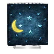 Stars And Moon Drawing With Chalk Shower Curtain