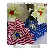 Stars And Stripes Bouquet Shower Curtain