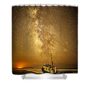 Stars Over Fishing Boat Shower Curtain
