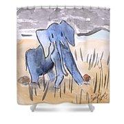 Startled Elephant Shower Curtain