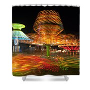 State Fair Rides At Night I Shower Curtain by Clarence Holmes