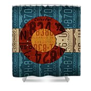 State Flag Of Colorado Recycled License Plate Art Shower Curtain
