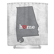 State Map Outline Alabama With Heart In Home Shower Curtain