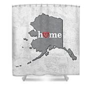 State Map Outline Alaska With Heart In Home Shower Curtain