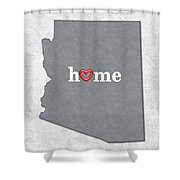 State Map Outline Arizona With Heart In Home Shower Curtain