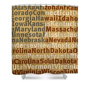 State Names American Flag Word Art Red White And Blue Shower Curtain