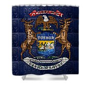 State Of Michigan Flag Recycled Vintage License Plate Art Version 1 Shower Curtain by Design Turnpike