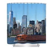 Staten Islan Ferry With Nyc Skyline Shower Curtain
