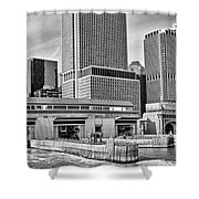 Staten Island Ferry Docks In B And W Shower Curtain