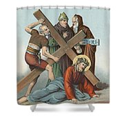 Station Ix Jesus Falls Under The Cross The Third Time Shower Curtain