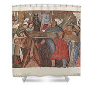 """Station Of The Cross No. 5: """"jesus Is Assisted In Carrying His Cross Shower Curtain"""