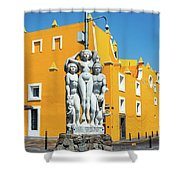 Statue And Yellow Theater Shower Curtain