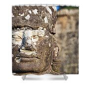 Statue At Angkor Thom Shower Curtain