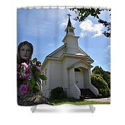 Statue At St. Mary's Church Shower Curtain