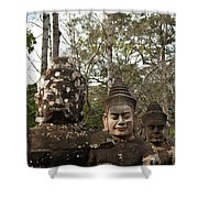 Statue Heads Ankor Thom Shower Curtain