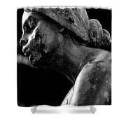 Statue In Black And White Shower Curtain