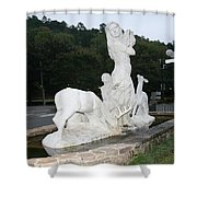 Statue In Front Of Arlington Hotel, Hot Springs, Ar Shower Curtain
