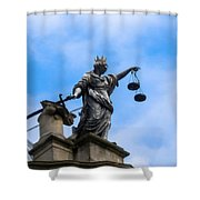 Statue In Sky Shower Curtain