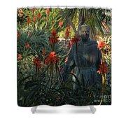 Statue In The Garden  Shower Curtain