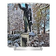 Statue In The Snow Shower Curtain