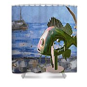 Statue Of Fish 113 Shower Curtain