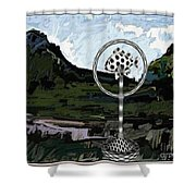Statue Of Fish In The Field  Shower Curtain