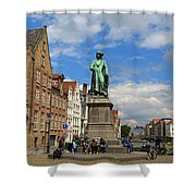 Statue Of Jan Van Eyck Beside The Spieglerei Canal In Bruges Shower Curtain