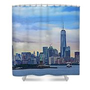 Statue Of Liberty And Manhattan Shower Curtain