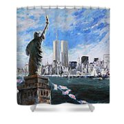 Statue Of Liberty And Tween Towers Shower Curtain