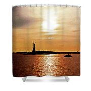 Statue Of Liberty At Sunset Shower Curtain