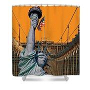 Statue Of Liberty - Brooklyn Bridge Shower Curtain