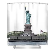 Statue Of Liberty, New York Sketch Shower Curtain