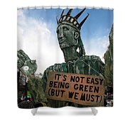 Statue Of Liberty Street Puppet At Political Demonstration Shower Curtain
