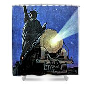 Statue Of Liberty With Steam Train, We Shall Not Fail Shower Curtain