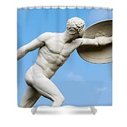 Statue Of Nude Man With Shield And Dagger Shower Curtain
