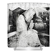 Statue Of Weeping Woman, Lafayette Cemetery, New Orleans In Black And White Sketch Shower Curtain