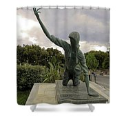 Statue Of Woman Crawling On Marble Street Shower Curtain