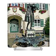Statue Of Young Wolfgang Amadeus Mozart In St. Gilgen, Austria Shower Curtain
