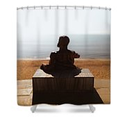 Statue On The Beach Shower Curtain