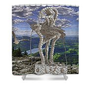 Statue On The Rocks  Shower Curtain