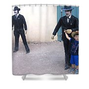 Statues Depicting Shooters In O.k. Corral Gunfight Tombstone Arizona 2004 Shower Curtain