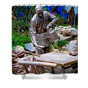 Statues Of After Noon Tea Shower Curtain