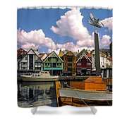 Stavanger Harbor Shower Curtain