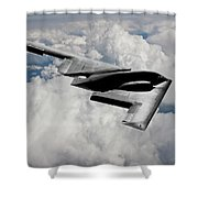 Stealth Bomber Over The Clouds Shower Curtain
