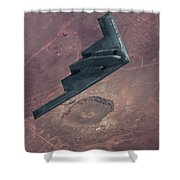 Stealth Over The Arizona Meteor Crater Shower Curtain