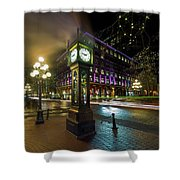 Steam Clock In Gastown Vancouver Bc At Night Shower Curtain
